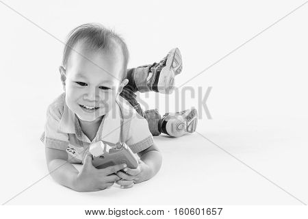 Boy With A Camera, White Background.