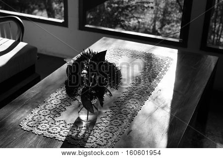Ixora Flower In Vase On Wood Table Near Window, Black And White