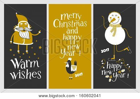 Holiday cards - Marry Christmas and Happy New Year. Rooster the symbol of 2017. ?heerful snowman on skates. Cards with a gold design