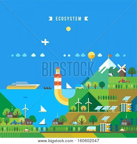Tourist resort. Lighthouse on the coast. The mountainous landscape. Cruise ship off the coast. Ecology concept vector illustration for environment. Flat style. Green energy and nature.