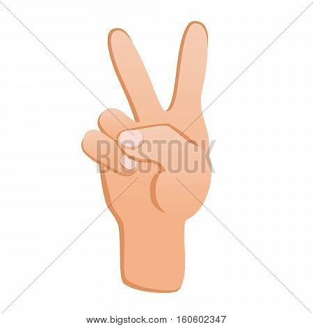 Human hand with gesture Victory. Sign of success. Isolated on white background. Stock vector.
