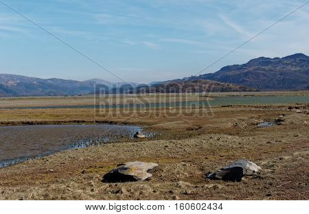 View of Barmouth Estuary from Fairbourne Gwynedd Wales.