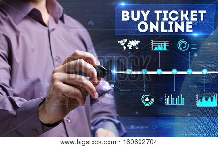 Technology, Internet, Business And Marketing. Young Business Person Sees The Word: Buy Ticket Online
