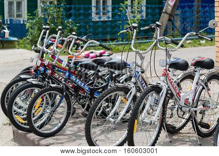 Gryazi, Russia - June 29.2016. Stels Bicycles standing on the street