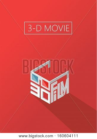 three d movie. cinema. Poster for the movie theater. Logo isometric.