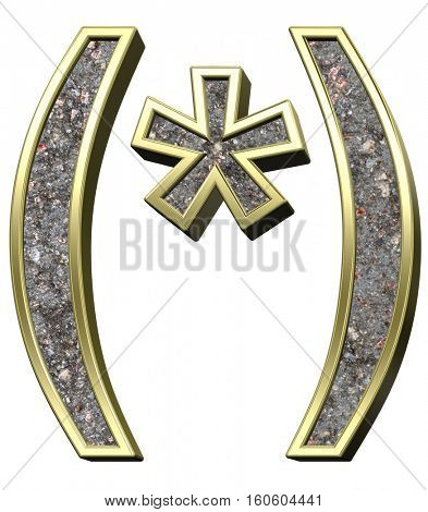 Parenthesis, asterisk from corroded steel with shiny gold frame alphabet set, isolated on white. 3D illustration.