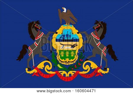 Flag of Pennsylvania state of the United States. Vector illustration
