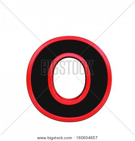 One lower case letter from black with red frame alphabet set, isolated on white. 3D illustration.