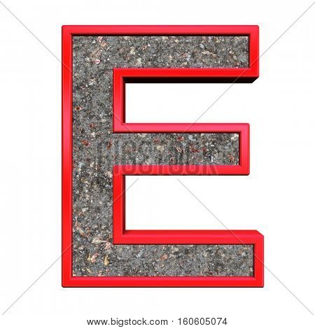One letter from corroded steel with red frame alphabet set, isolated on white. 3D illustration.