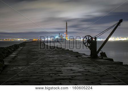 Dublin docklands, Poolbeg lighthouse, Dublin Ireland view