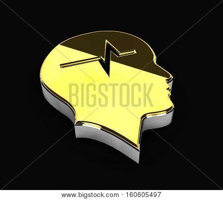 3d Illustration of gold Copyright symbol on black background