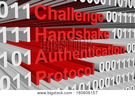 Challenge Handshake Authentication Protocol presented in the form of binary code 3d illustration