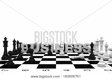 business chess white background fight 3d illustration