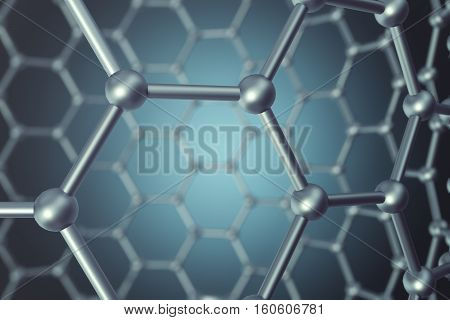 3d rendering blue and silver abstract nanotechnology hexagonal geometric form close-up, concept graphene molecular structure.