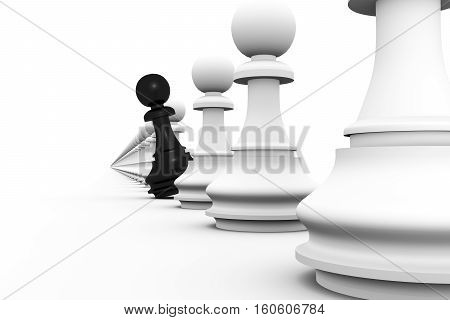 unique eye catching chess pawn 3d illustration