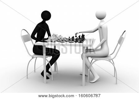 Two figures sit and play game of chess black for white white for black Game of chess 3d illustration