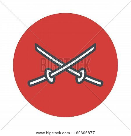 Japan sword katana icon isolated on white background. Vector illustration