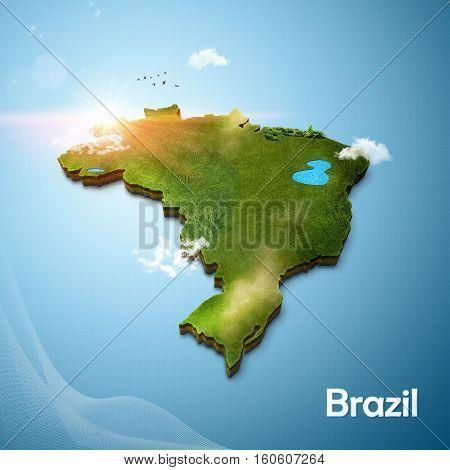 Realistic 3D map of Brasil (3d illustration)