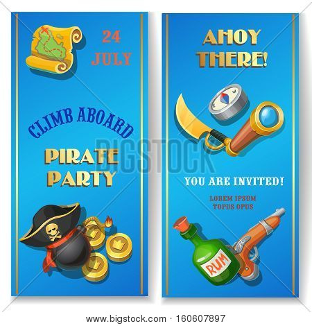Pirate party cartoon invitation card. Flat banners set with treasure map and triangle black hat