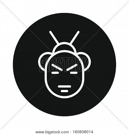 Japan samurai icon isolated on white background. Vector illustration