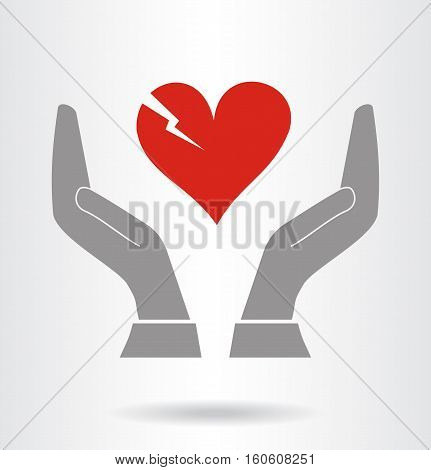 Hands and fragile heart symbol. Vector illustration.