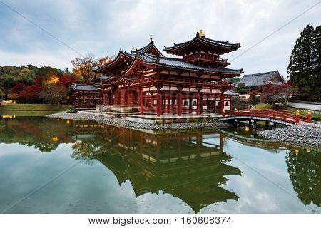 Byodo-in Temple With Reflection At Dusk, Uji