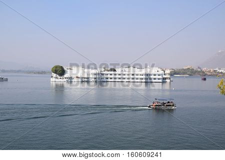 UDAIPUR, RAJASTHAN, INDIA, FEBRUARY 07,  2016 - View of lake palace from lake Pichola