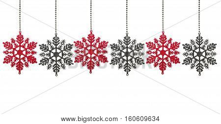 Christmas baubles in shape of snowflake  isolated on white background