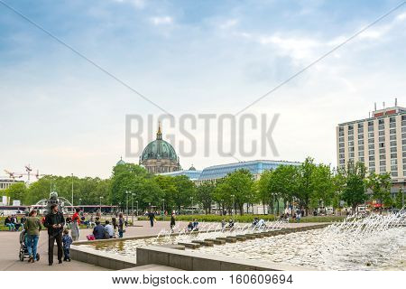 BERLIN, GERMANY- May 18, 2016: Typical Street view May 18, 2016 in Berlin, Germany. Berlin is the capital of Germany. With a population of approximately 3.5 million people.BERLIN, GERMANY