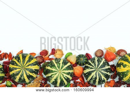 Small striped pumpkins with leaves on white background