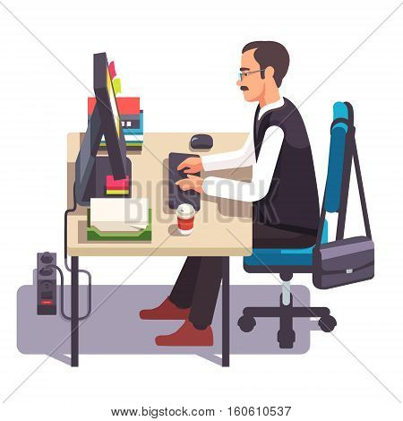 Clerk man working on a desktop computer at the office desk. Sitting on chair and keyboard typing. Flat style color modern vector illustration.