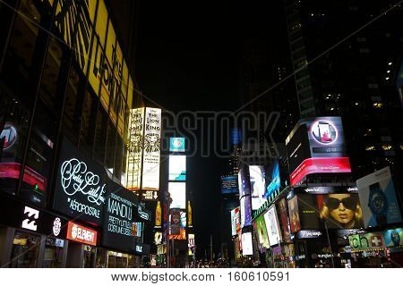 NEW YORK, USA - August 20, 2015: Time Square at night, New York. USA.