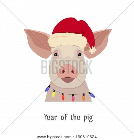 Vector Vector pig head in winter new year clothing: hat and christmas lights. Isolated Design object in flat, cartoon style. Chinese new year symbol. Poster, banner, print, advertisement element.
