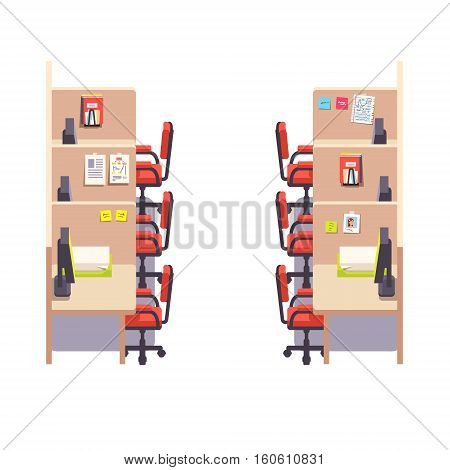 Empty corporate cubicle office work space interior with computers. Flat style color modern vector illustration.