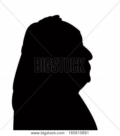 an old muslim lady head, with scarf, silhouette vector