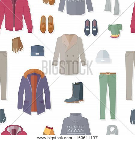 Clothing vector seamless pattern. Flat style illustration. Jacket, sweater, coat, shoes, loafers, boots, pants, gloves, scarf vectors on white background. For wrapping paper stores ad prints design