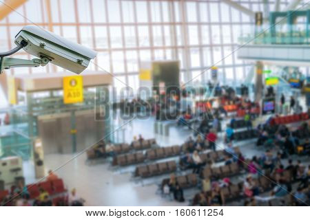 CCTV system security monitoring in airport blur background.