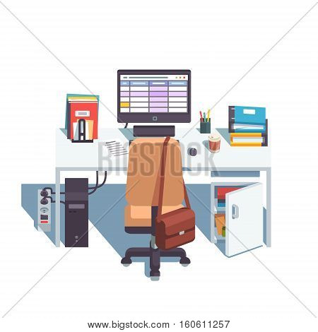 Home or office desk with casters chair, desktop computer with sheets application, some papers and binders. Top back side view. Flat style color modern vector illustration.