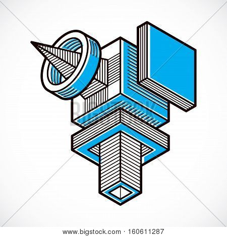 Abstract Three-dimensional Shape, Vector Design Cube Element.