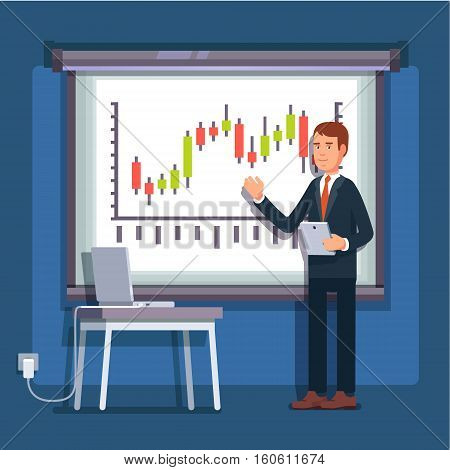 Businessman giving a speech showing sales statistics graph on presentation screen. Flat style color modern vector illustration.