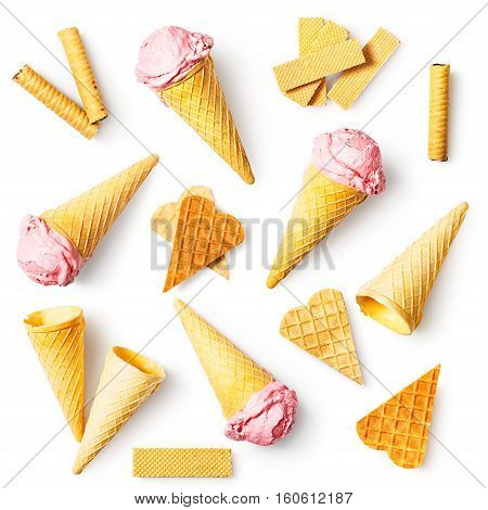 Strawberry ice cream with waffle cone wafer sticks and hearts collection. Sweet dessert. Design elements isolated on white background. Flat lay top view