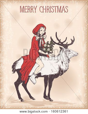 Vector Vintage Christmas card with girl in a red cloak on deer