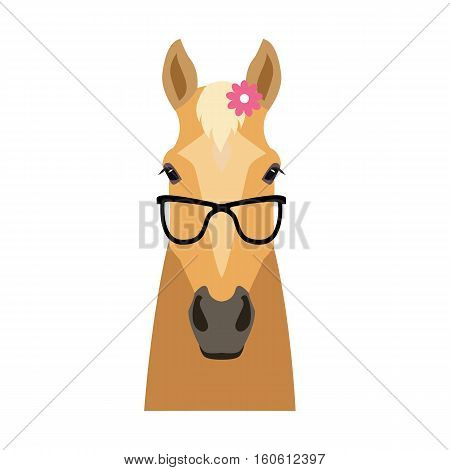 Vector Flat horse hipster head isolated. Palomino, beige color horse face in sunglasses with flower. Cartoon style illustration Object for poster banner print design. Advertisement decoration element