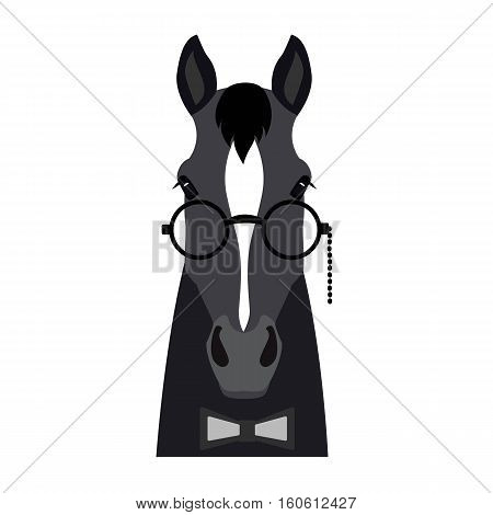 Vector Flat horse hipster head isolated. Dark grey color horse face in glasses and bowtie. Cartoon style illustration. Object for web, poster, banner, print design. Advertisement decoration element