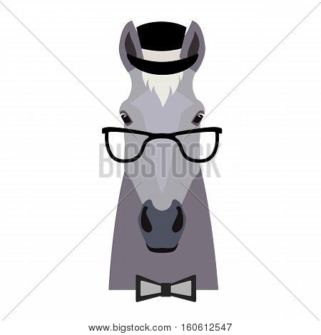 Vector Flat horse hipster head isolated. Grey color horse face in glasses, hat and bowtie. Cartoon style illustration. Object for web, poster, banner, print design. Advertisement decoration element