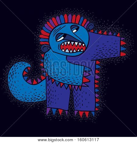 Character Monster Vector Flat Illustration, Cute Blue Mutant. Drawing Of Weird Beast, Emotional Expr