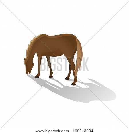 Grazing brown horse isolated image in a flat style. Vector illustration.