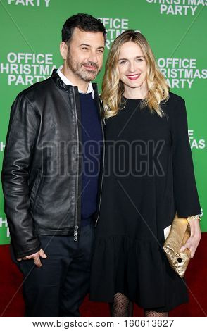 Jimmy Kimmel and Molly McNearney at the Los Angeles premiere of 'Office Christmas Party' held at the Regency Village Theatre in Westwood, USA on December 7, 2016.