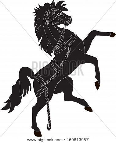 Silhouette of a rearing horse. Vector image