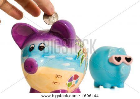 Quarter Into Piggy Bank